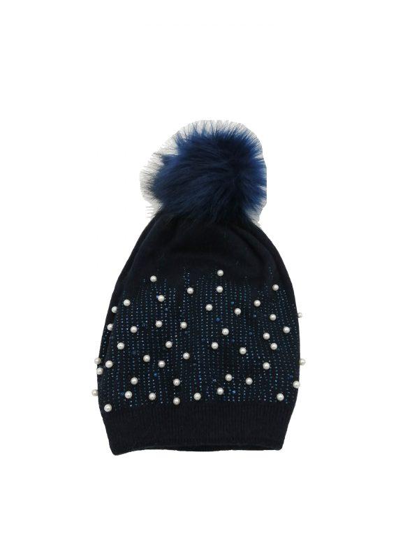 bonnet bleu marine avec strass et perles accessoires-fantaisie-mode-femme-lyon