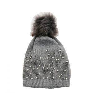 bonnet gris avec strass et perles accessoires-fantaisie-mode-femme-lyon