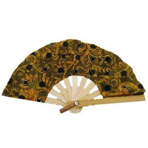 petit éventail en bois et tissu balinais accessoires mode et petite maroquinerie femme à Lyon