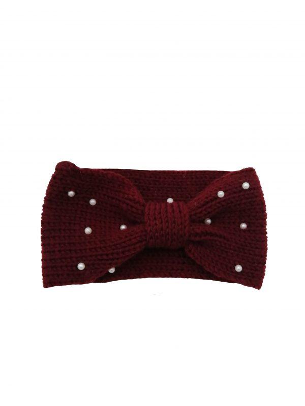 headband bordeaux avec perles ivoire, accessoires de mode pour cheveux femme
