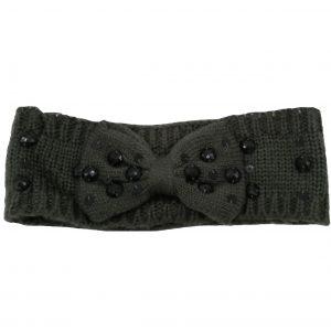 headband gris anthracite avec strass noirs, fin et toucher doux, accessoires de mode pour cheveux femme