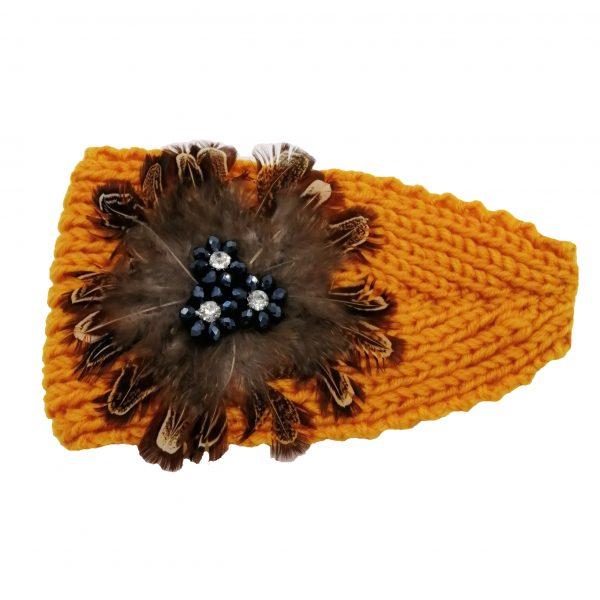 headband automne-hiver jaune avec plumes, accessoires de mode pour cheveux femme à Lyon