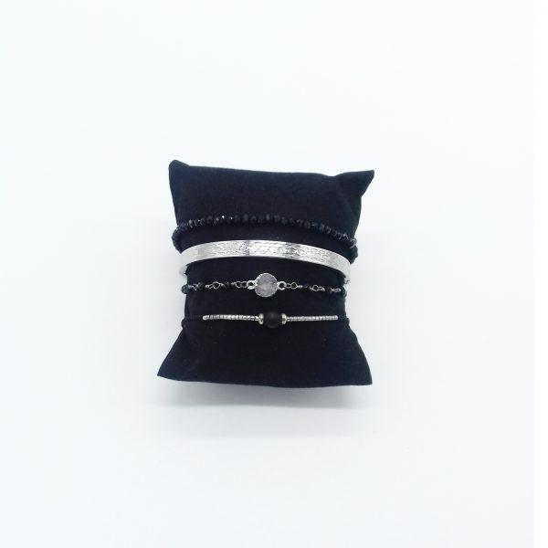pack de bracelets noir et argent bijoux fantaisie et accessoires de mode femme à Lyon