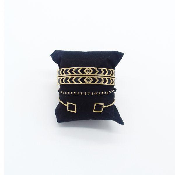 pack de bracelets noirs et dorés bijoux fantaisie et accessoires de mode femme à Lyon