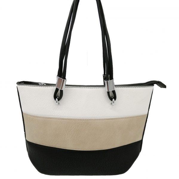 sac à main tricolore, blanc crème et noir, petit format, accessoires de mode, maroquinerie femme à Lyon