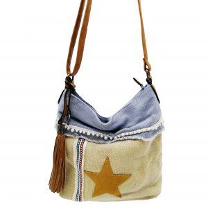 sac bandoulière motif étoile bleu ciel et beige, style bohème, accessoires de mode et maroquinerie à Lyon
