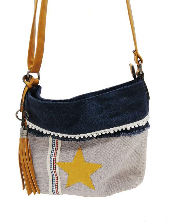 sac bandoulière motif étoile bleu marine et beige, style bohème, accessoires de mode et maroquinerie à Lyon
