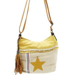 sac bandoulière motif étoile jaune et beige, style bohème, accessoires de mode et maroquinerie à Lyon