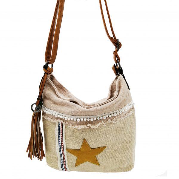 sac bandoulière motif étoile rose et beige, style bohème, accessoires de mode et maroquinerie à Lyon