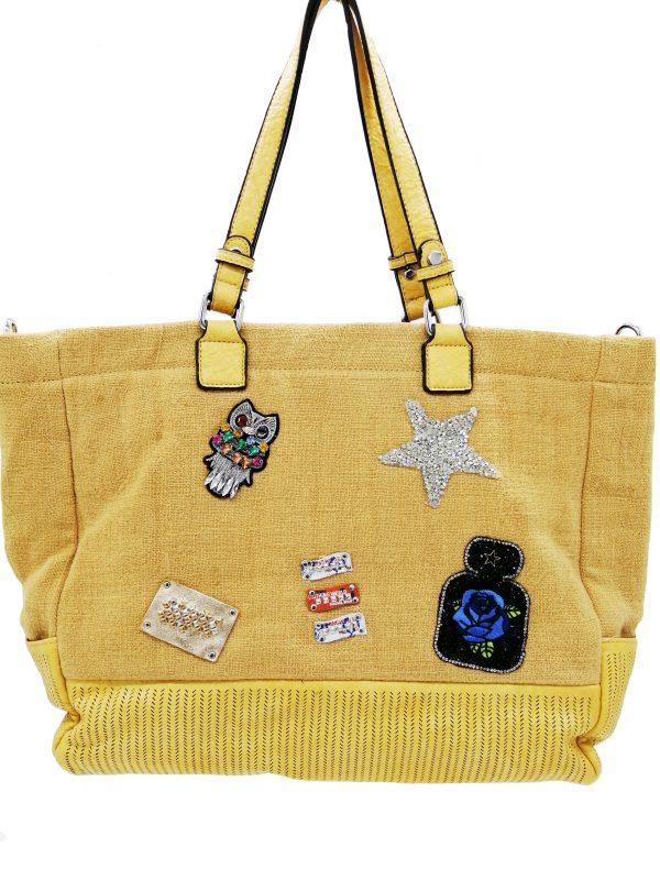 sac cabas patchwork couleur moutarde, accessoire de mode, maroquinerie femme à Lyon