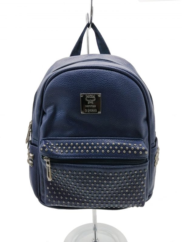 sac à dos bleu marine, look rock, petit format, accessoire de mode femme à Lyon