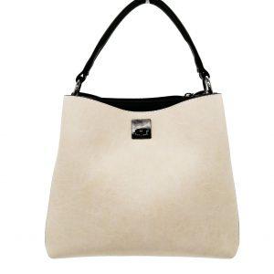 sac à main beige et noir, look classique élégant, maroquinerie femme, accessoire de mode à Lyon