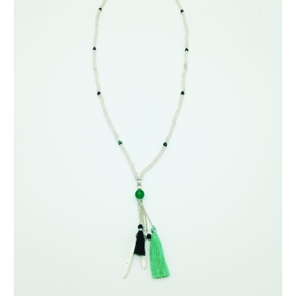 sautoir avec perles blanches et vertes, bijou fantaisie et accessoire de mode femme à Lyon