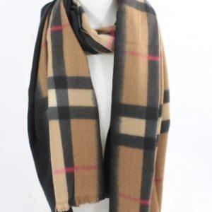 écharpe douce en laine viscose et coton couleur camel, accessoire de mode femme à Lyon