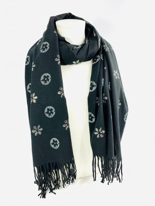 écharpe en cachemire, viscose et laine couleur noire, accessoires de mode femmes et bijoux à Lyon