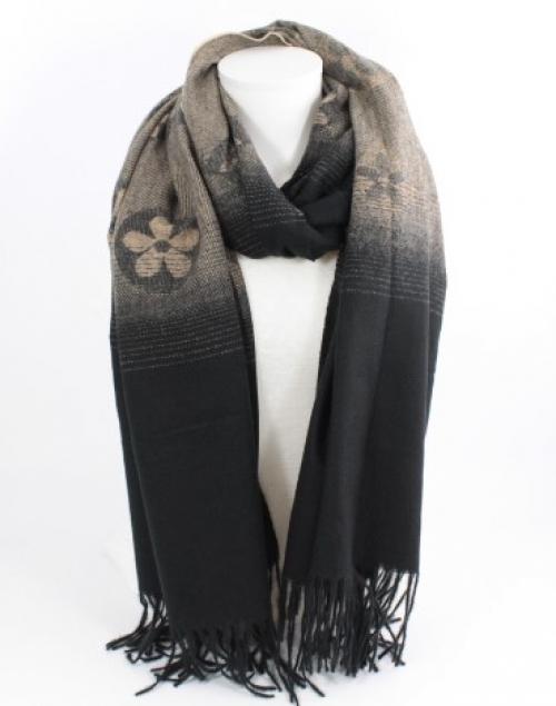 écharpe douce en laine viscose et coton couleur noir et camel, accessoire de mode féminin à Lyon