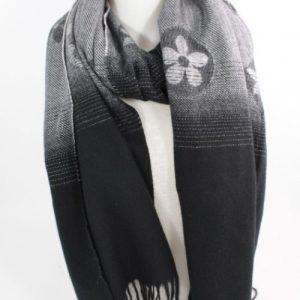 echarpe en laine, viscoe set coton couleur noire et grise, accessoire de mode femme à Lyon