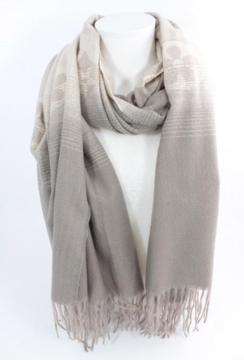 écharpe en laine, viscose et coton couleur taupe, accessoire de mode féminin à Lyon