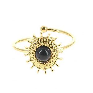 bague dorée réglable en acier inoxydable avec pierre naturelle agate, accessoires de mode pour femmes à Lyon, bijoux, écharpes, montres....