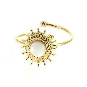 bague doré réglable en acier inoxydable avec pierre naturelle coquille de nacre blanche, accessoires de mode pour femmes à Lyon, bijoux, écharpes, montres....