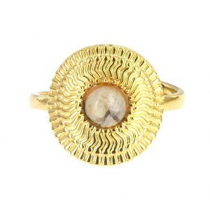 bague dorée réglable en acier inoxydable avec pierre naturelle jaspe, accessoires de mode pour femmes à Lyon, bijoux, écharpes, montres....