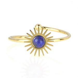 bague dorée réglable en acier inoxydable avec pierre naturelle lapis lazuli accessoires de mode pour femmes à Lyon, bijoux, écharpes, montres....