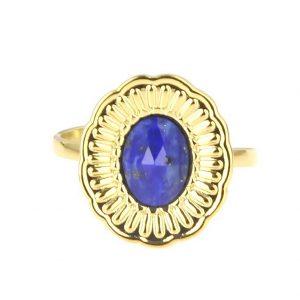 zoom bague dorée réglable en acier inoxydable avec pierre naturelle lapis lazuli accessoires de mode pour femmes à Lyon, bijoux, écharpes, montres....