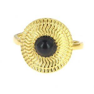 Bague dorée réglable en acier inoxydable avec pierre naturelle agate accessoires de mode pour femmes à Lyon, bijoux, écharpes, montres....