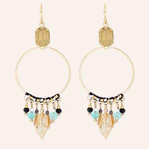 boucles d'oreilles dorées pendantes noires, bleues, turquoises, en laiton doré à l'or fin 18 carats, bijoux et accessoires de mode pour femmes à Lyon