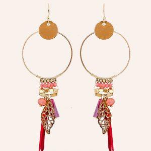 boucles d'oreilles pendantes en laiton doré à l'or fin 18carats aux nuances de rouge, bijoux et accessoires de mode pour femmes à Lyon
