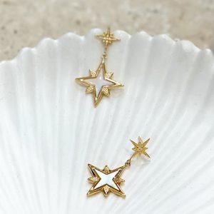boucles d'oreilles pendantes en forme d'étoiles nacrées en acier inoxydable, bijoux et accessoires de mode pour femmes à Lyon
