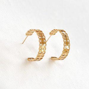 petites créoles dorées, boucles d'oreilles en acier inoxydable, bijoux et accessoires de mode pour femmes à Lyon