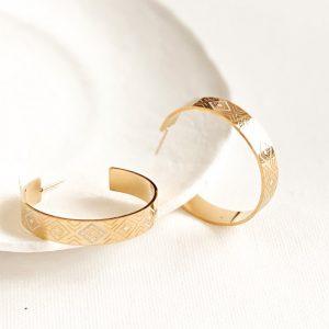 petites créoles dorées, boucles d'oreilles motifs blancs en acier inoxydable, bijoux et accessoires de mode pour femmes à Lyon