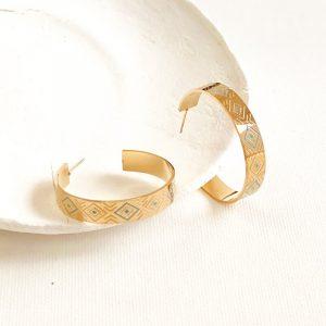 petites créoles dorées, boucles d'oreilles motifs bleus en acier inoxydable, bijoux et accessoires de mode pour femmes à Lyon