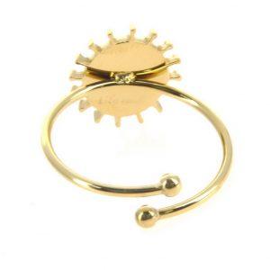 zoom arrière bague dorée réglable en acier inoxydable avec pierre naturelle agate, accessoires de mode pour femmes à Lyon, bijoux, écharpes, montres....