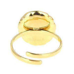 zoom arrière bague dorée réglable en acier inoxydable avec pierre naturelle lapis lazuli accessoires de mode pour femmes à Lyon, bijoux, écharpes, montres....