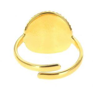 zoom arrière Bague dorée réglable en acier inoxydable avec pierre naturelle agate , accessoires de mode pour femmes à Lyon, bijoux, écharpes, montres...